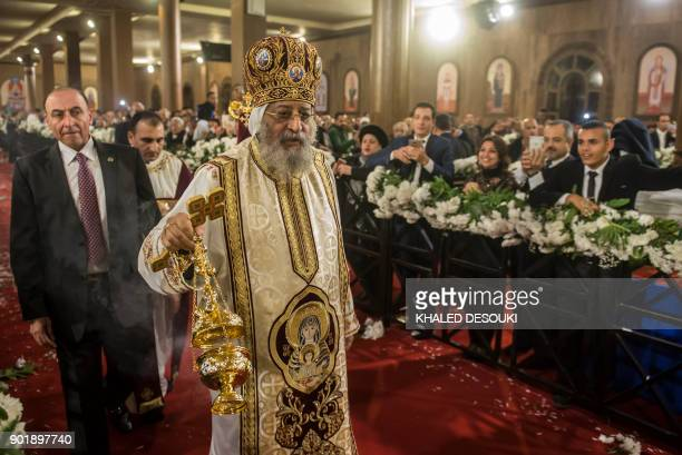 Egypt Coptic Pope Tawadros II leads the Christmas Eve mass at the Nativity of Christ Cathedral in Egypt's futur administrative capital 45 kms east of...