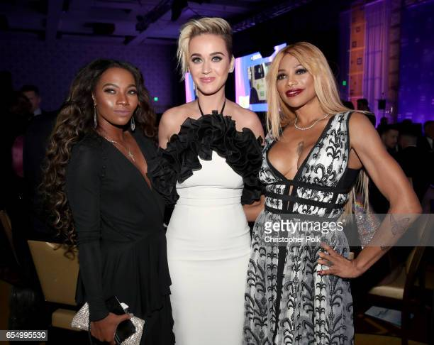 Egypt Criss singer Katy Perry and rapper Sandra 'Pepa' Denton at The Human Rights Campaign 2017 Los Angeles Gala Dinner at JW Marriott Los Angeles at...