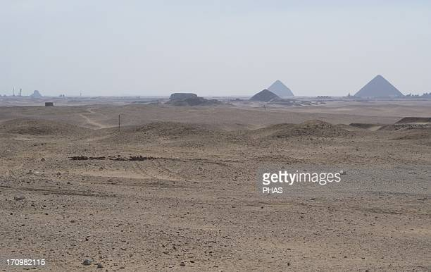 Egypt Dahshur Overview of the Red Pyramid the Bent Pyramid constructed during the reign of Pharaoh Sneferu and the Pyramid of Sesostris III from the...