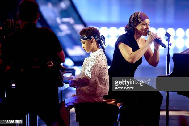Egypt Daoud Dean and Alicia Keys perform on stage at the 2019 iHeartRadio Music Awards which broadcasted live on FOX at the Microsoft Theater on...