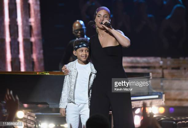 Egypt Daoud Dean and Alicia Keys perform on stage at the 2019 iHeartRadio Music Awards which broadcasted live on FOX at Microsoft Theater on March 14...