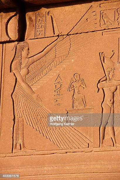 Egypt, Dendera, Temple Of Dendera, Temple Of Hathor, Hathor With Wings Of Horus.