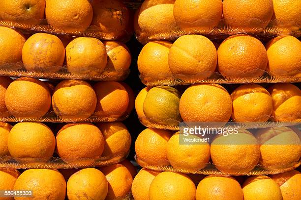 egypt, el gouna, stacks of oranges - plastic plate stock pictures, royalty-free photos & images