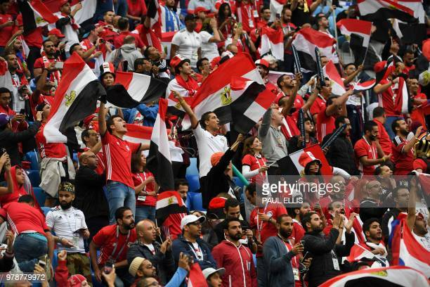 Egypt fan cheer prior to the Russia 2018 World Cup Group A football match between Russia and Egypt at the Saint Petersburg Stadium in Saint...