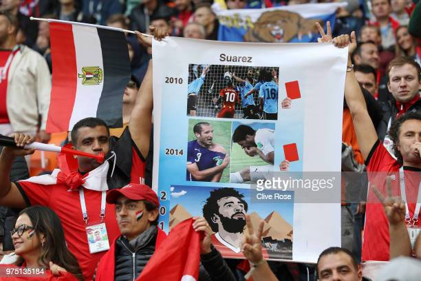 Egypt fans display a banner during the 2018 FIFA World Cup Russia group A match between Egypt and Uruguay at Ekaterinburg Arena on June 15 2018 in...