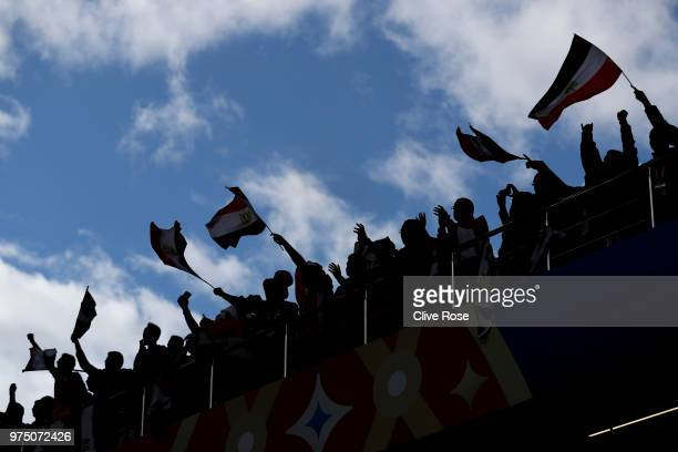Egypt fans enjoy the pre match atmosphere prior to the 2018 FIFA World Cup Russia group A match between Egypt and Uruguay at Ekaterinburg Arena on...