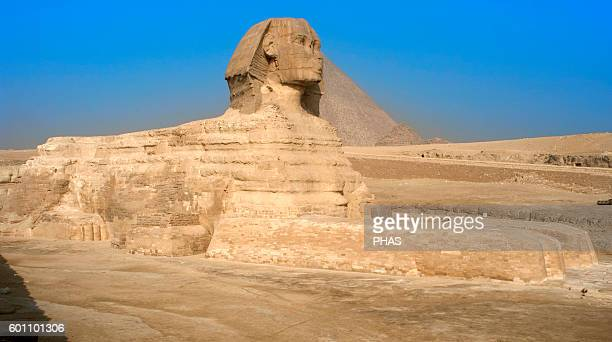 Egypt Great Sphinx of Giza Limestone statue with lion body and human head Is believed that represents the Pharaoh Khafra Built as a protective guard...