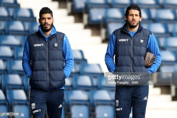 Egypt internationals Ali Gabr and Ahmed Hegazi of West Bromwich Albion during the Emirates FA Cup Fifth Round between West Bromwich Albion and...