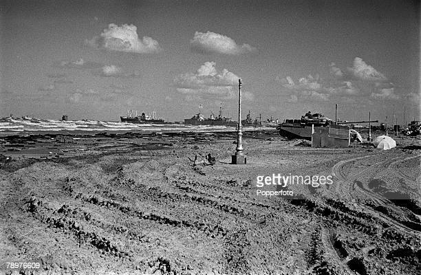 Egypt Invasion Tanks on the beach after being landed landed from the off the coast of Port Said