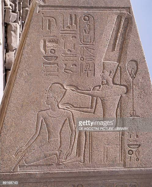 Egypt Karnak Great Temple of Amon obelisk detail with Queen Hatshepsut protected by Amon relief