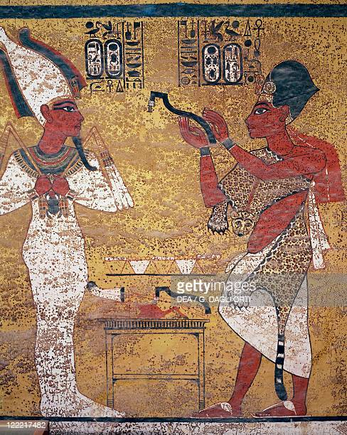 Egypt Luxor Ancient Thebes Valley of the Kings Tutankhamen's Tomb Detail of the frescos from the funeral room The Pharaoh before Osiris