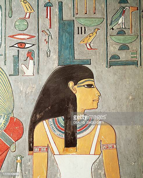 Egypt Luxor Sheikh 'Abd ElQurna Tomb of Horemhab scribe of the recruits Princess Amenmipet's tutor master of horseman Detail of the frescos Isis