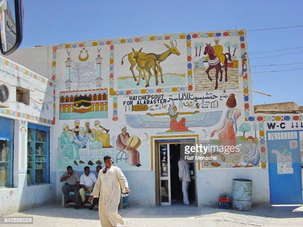 egypt luxor. typical souvenir shop at the west bank. - egyptian artifacts stock pictures, royalty-free photos & images