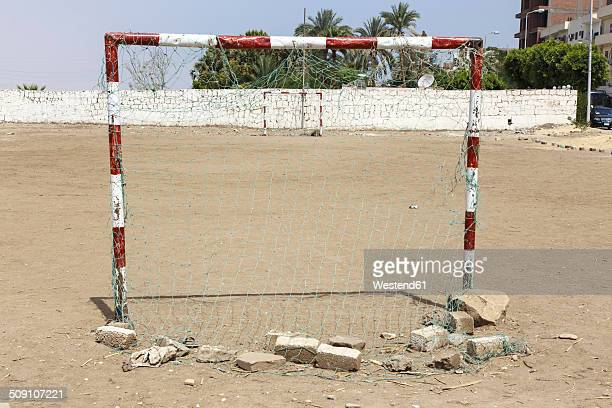 Egypt, Luxor, view of goal on empty soccer field