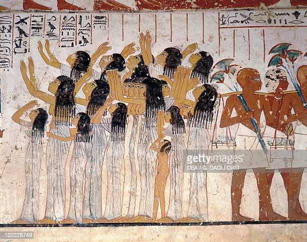 Egypt Luxor West Thebes Valley of the Nobles Group of women weeping at the head of a funeral procession 1370 bC