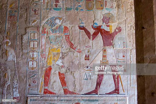 egypt: mortuary temple of hatshepsut - hieroglyphics stock pictures, royalty-free photos & images