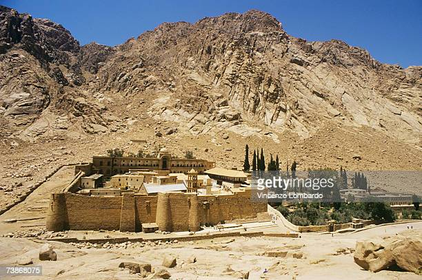 egypt, mount sinai, saint catherine's monastery , high angle view - 6th century bc stock photos and pictures