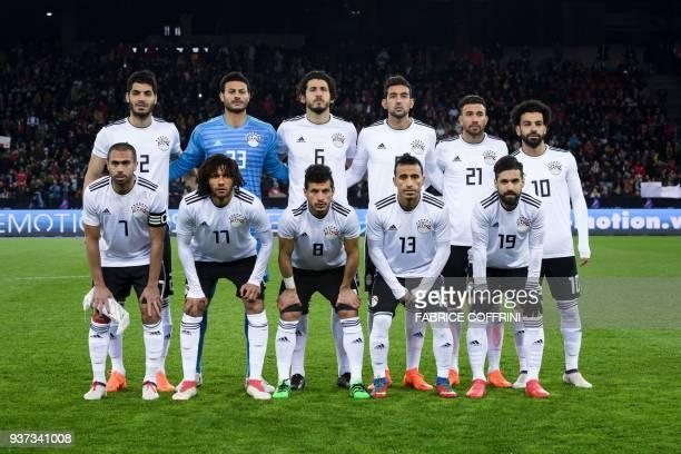 Egypt national football squad second row defender Ahmed El Mohamady goalkeeper Mohamed El Shenawy defender Ahmed Hegazi midfielder Hamed Hasan...