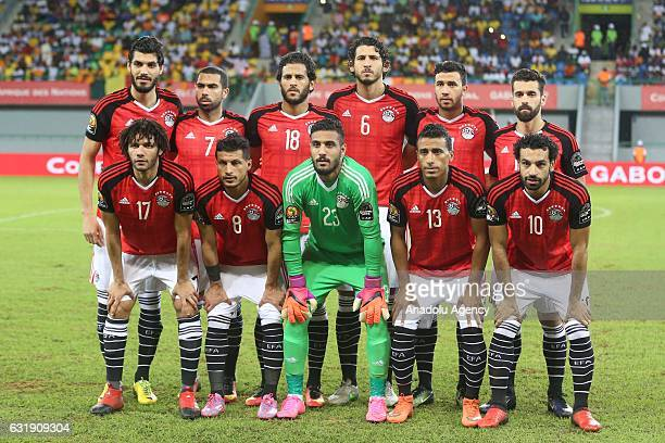 Egypt National team players pose for a photograph during the African Cup of Nations 2017 Group D football match between Egypt and Mali in PortGentil...