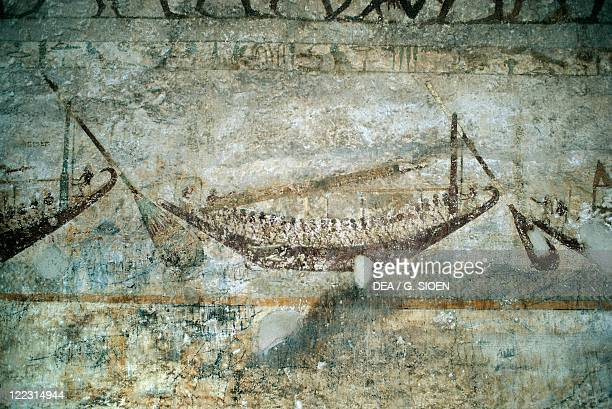Egypt Necropolis of Beni Hasan Tomb of Amenemhat Detail mural painting depicting a boat