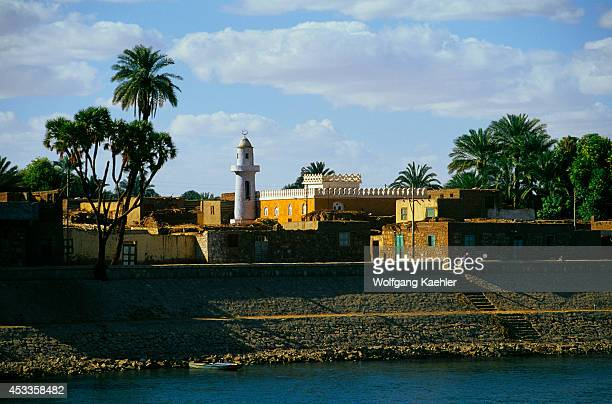 Egypt Nile River Between Kom Ombo And Esna Small Village With Mosque