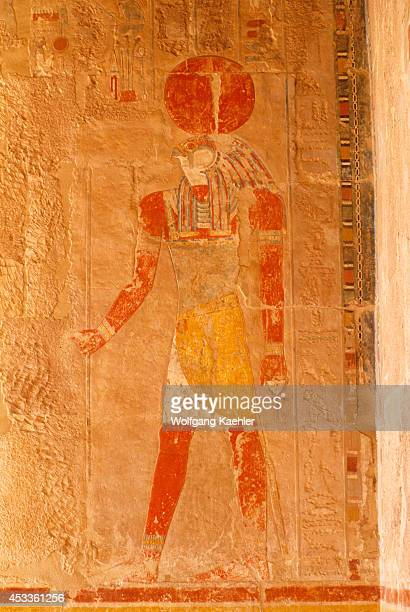 Egypt Nile River Near Luxor Temple Of Hatshepsut Chapel Of Anubis Painted Relief Carvings