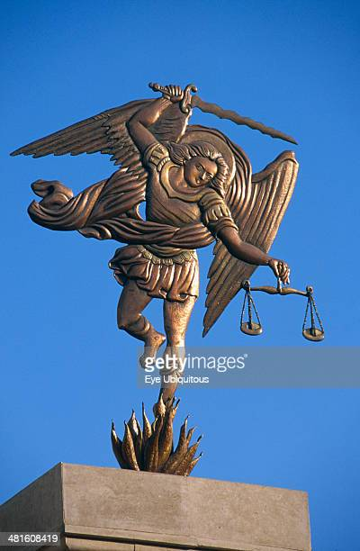 Egypt Nile Valley Aswan Coptic Cathedral Statue of the Archangel Michael holding sword and scales