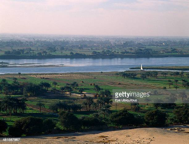 Egypt Nile Valley Beni Hasan View over agricultural land in the flood plain of the River Nile