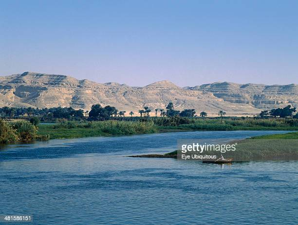 Egypt Nile Valley Beni Hasan View over River Nile and its fertile flood plain