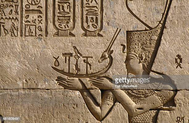 Egypt Nile Valley Dendara Temple of Hathor Detail of frieze depicting the pharaoh making offerings to Hathor