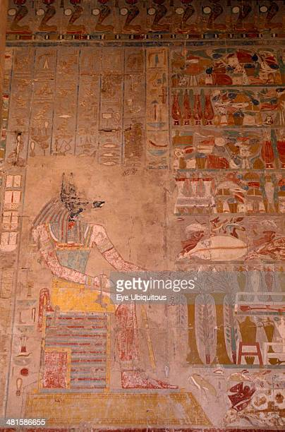 Egypt Nile Valley Luxor Hatshepsut Temple Anubis relief painting on the tomb wall