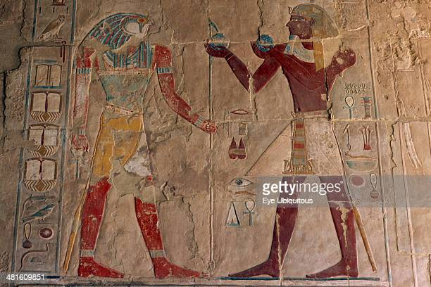 Egypt Nile Valley Thebes DeirelBahri Hatshepsut Mortuary Temple Chapel of Anubis Relief of Tuthmosis III making offerings to the sun god Ra Harakhty