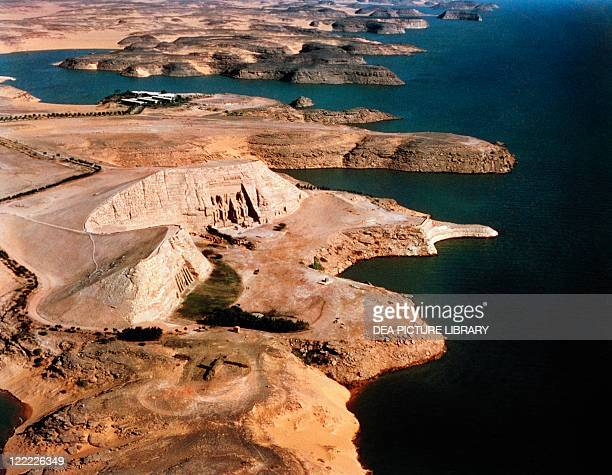 Egypt Nubia Abu Simbel aerial view of temples