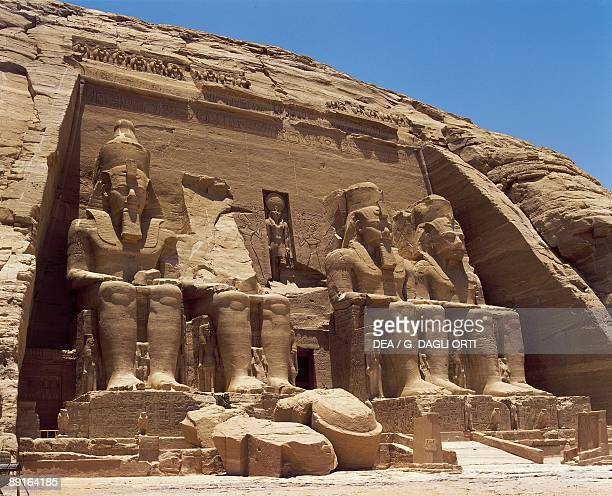 Egypt Nubian monuments at Abu Simbel Great Temple Colossal four sandstone figures of enthroned Ramses II