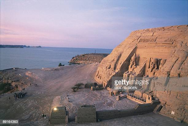 Egypt Nubian monuments at Abu Simbel Great Temple of Ramses II at sunset
