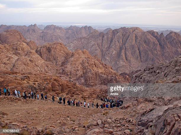 on the way back down Mount Sinai after the night ascent to admire the sunrise