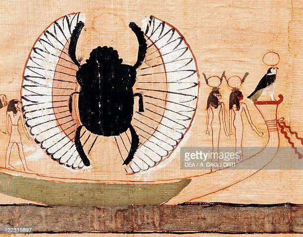 Egypt Papyrus depicting the sacred scarab eighteenth dynasty