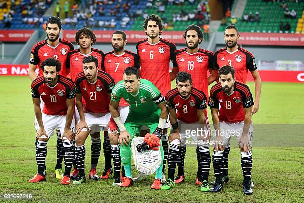 Egypt players pose for a team photo ahead of the African Cup of Nations 2017 Group D football match between Ghana and Egypt in PortGentil Gabon on...