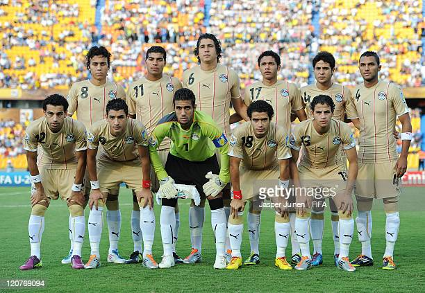 Egypt players pose for a team picture during the FIFA U20 World Cup Colombia 2011 round of 16 match between Argentina and Egypt at the Atanasio...