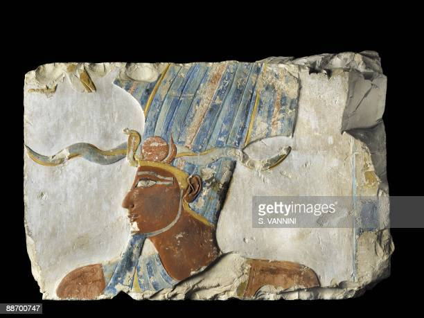 Egypt Polychrome relief representing the face of King Thutmosi III