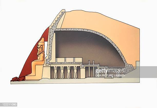 Egypt Reconstructed Abu Simbel temples Illustrated cutaway view