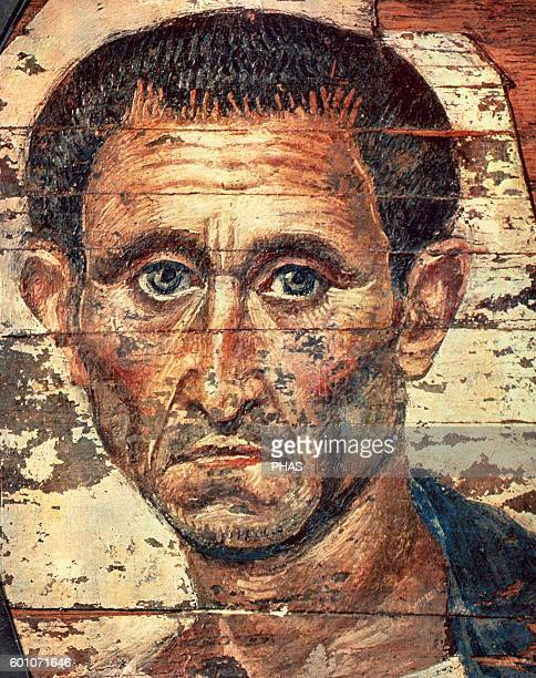 Egypt Roman period Fayum mummy portraits Man Encaustic painting Coptic period End 1st century AD Pushkin Museum Moscow Russia