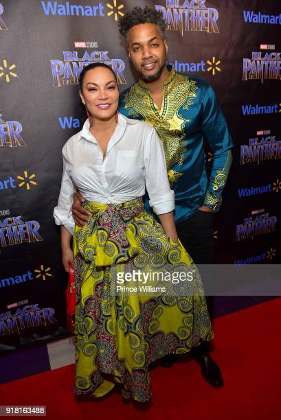 Egypt Sherrod and DJ Fadelf attend 'Black Panther' Advance Screening at Regal Hollywood on February 13 2018 in Chamblee Georgia