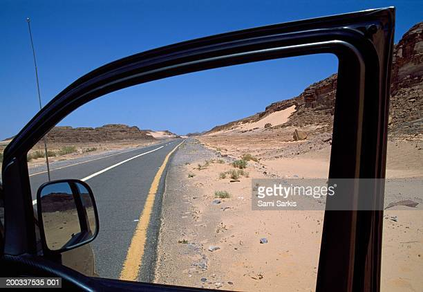 Egypt, Sinai Desert, road, view through car door window