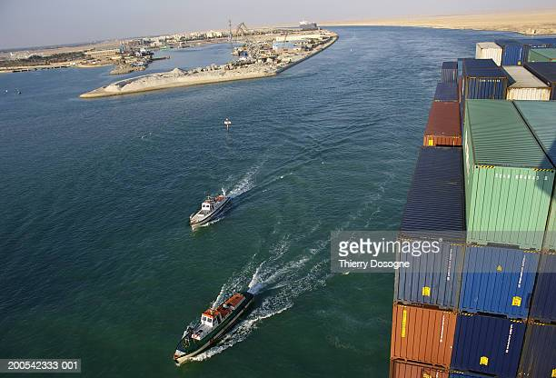 egypt, suez canal, view from container ship - suez canal stock pictures, royalty-free photos & images
