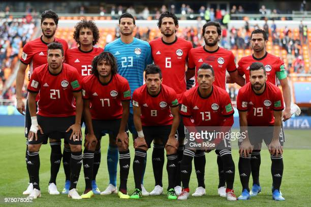 Egypt team lines up prior to the 2018 FIFA World Cup Russia group A match between Egypt and Uruguay at Ekaterinburg Arena on June 15 2018 in...