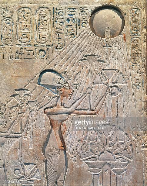 Egypt Tell elAmarna Basrelief depicting Amenhotep IV worshiping the solar disc eighteenth dynasty New Kingdom