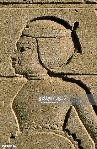Temple of Amon Re at Karnak East Thebes The figure of an African prisoner with a rope around his neck sculpted in sandstone Like in the image of the...