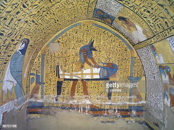 Egypt Thebes Luxor Dayr alMadina Tomb of Servant in the Place of Truth Khaemteri Mural paintings Anubis before embalmed Khaemteri