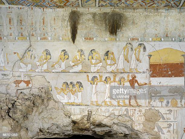 Egypt Thebes Luxor Sheikh 'Abd alQurna Tomb of scribe and granary accountant at Amon's estate Amenemhat Mural paintings